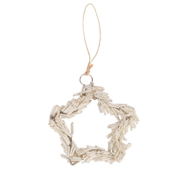 FP Collection Christmas Ornament Beaded Star Cream  ] 185161 - Flower Power