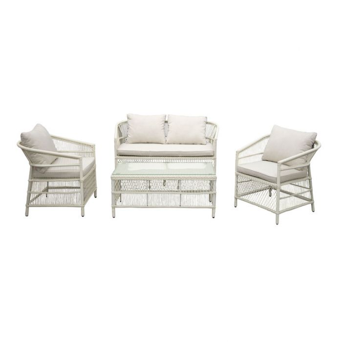 FP Collection Malawi Outdoor 4 Seater Lounge Setting White  ] 185199 - Flower Power