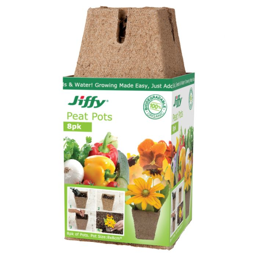 Jiffy 8cm Peat Pots (8 pots)  ] 33349100483 - Flower Power