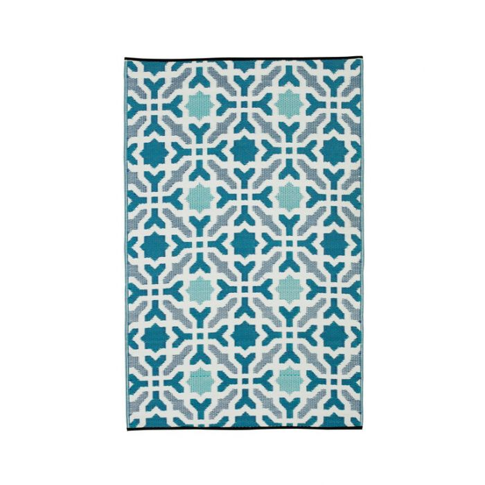 Fab Habitat Seville Blue Outdoor Rug  ] 8901304501977P - Flower Power
