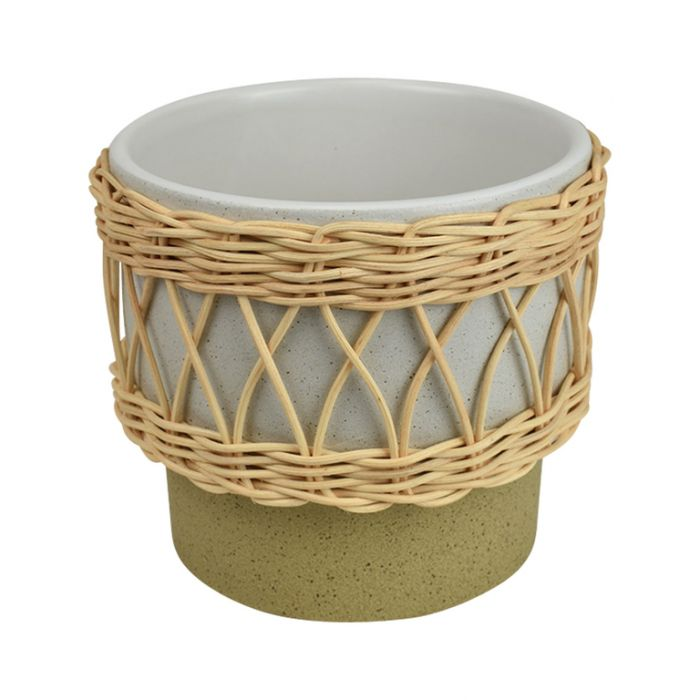 Cancun Rattan Trim Pot White  ] 9330049406138P - Flower Power