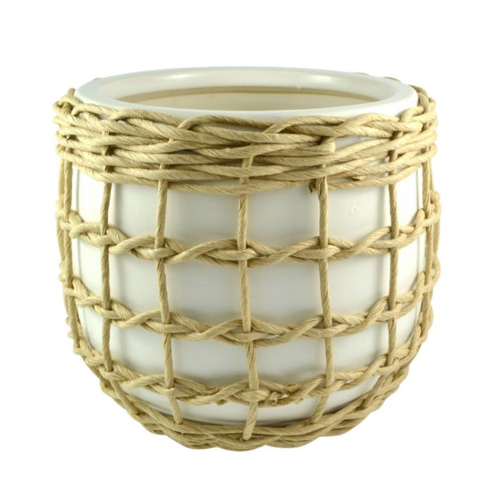 Como Twine Trim Pot White  ] 9330049416267 - Flower Power
