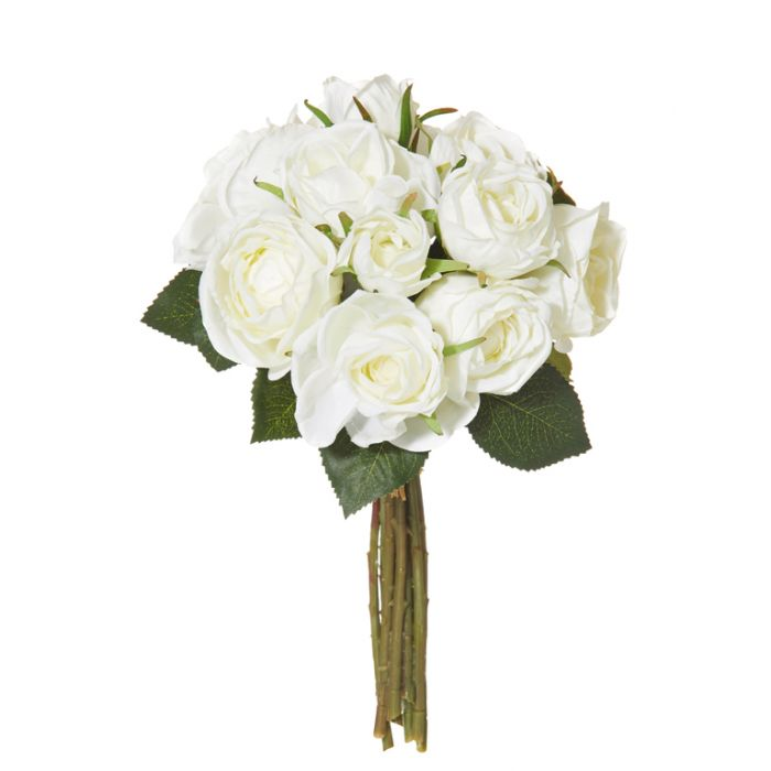 Artificial Bouquet Mini Rose White  ] 9331460260408 - Flower Power