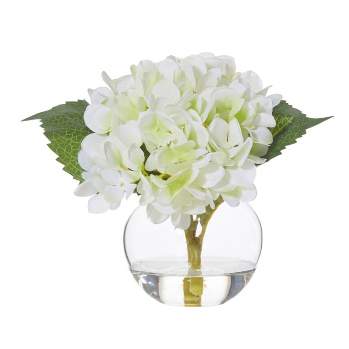 Artificial Hydrangea Sphere Vase White  ] 9331460287498P - Flower Power