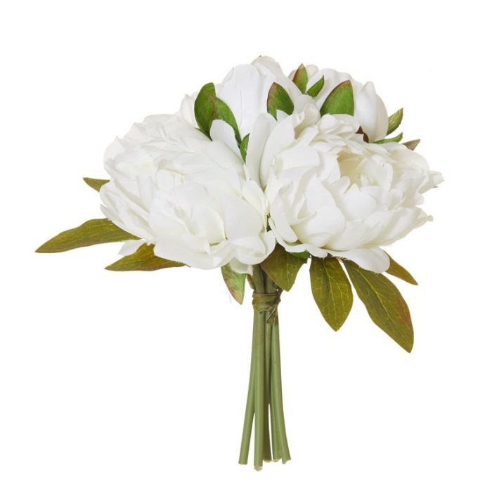 Artificial Peony Bouquet White  ] 9331460308186 - Flower Power