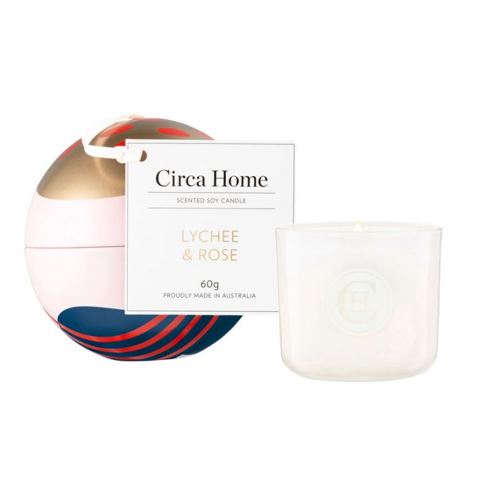Circa Home Christmas Lychee & Rose Mini Soy Candle Bauble  ] 9338817017296 - Flower Power