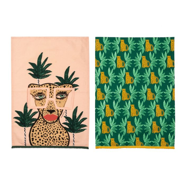 Fem Feline Tea Towel Set of 2  ] 9345869220475 - Flower Power