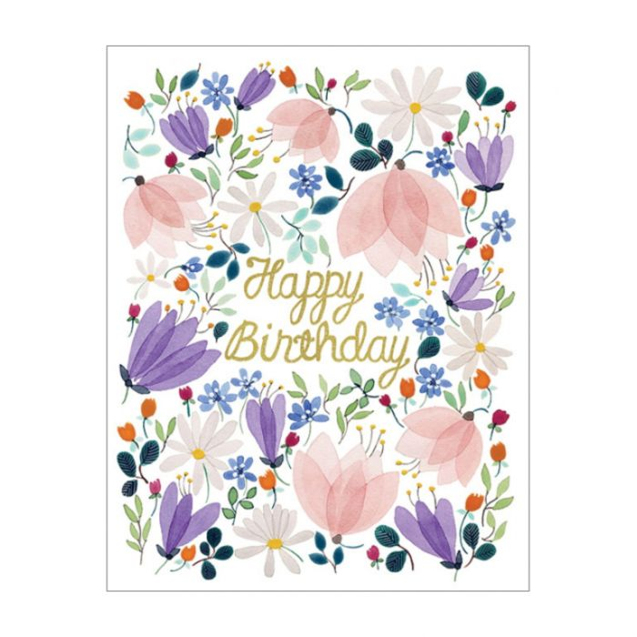 Almanac Gallery Birthday Whispers Foil Card  ] 9346109029186 - Flower Power