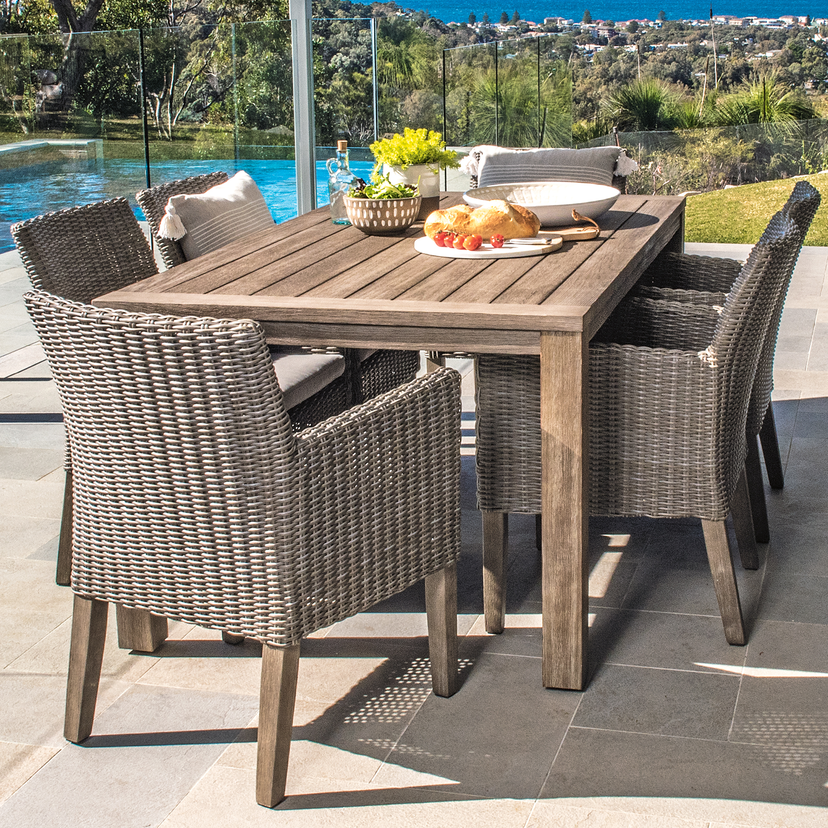 Fp Collection Dune Outdoor Dining Table Grey