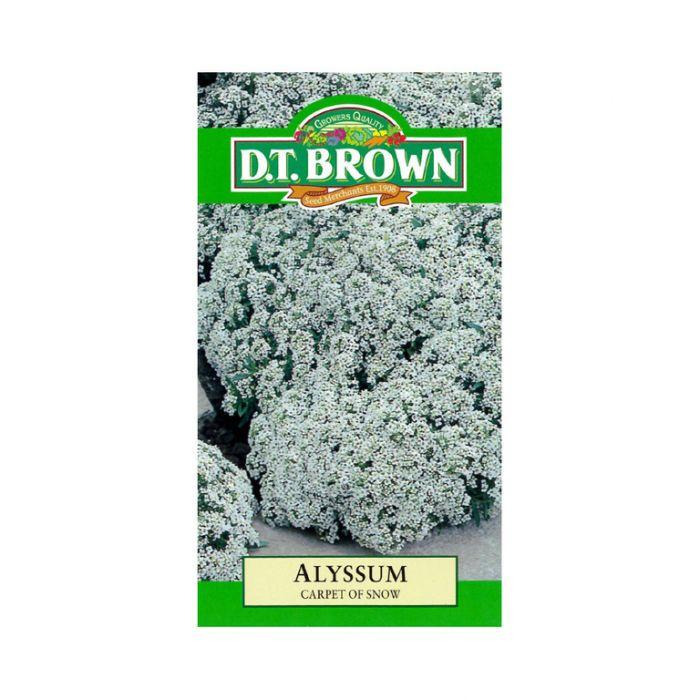 D T Brown - Flower Seeds - Alyssum Carpet Of Snow  5030075000136