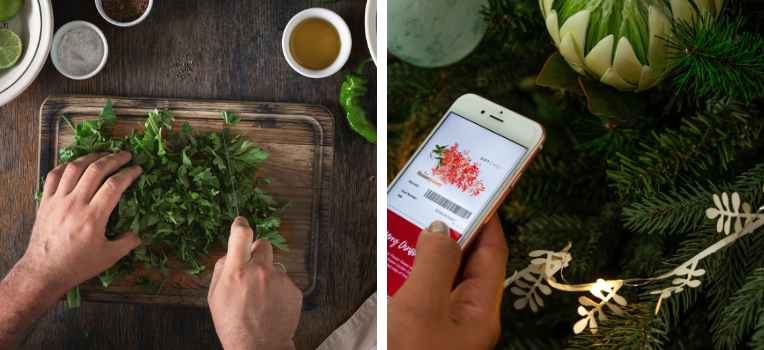 Image 1: A man's hands chopping herbs on a wooden chopping board. Image 2: A woman's hand holding an iPhone in front of a Christmas tree. The iPhone is displaying a Flower Power digital gift card.